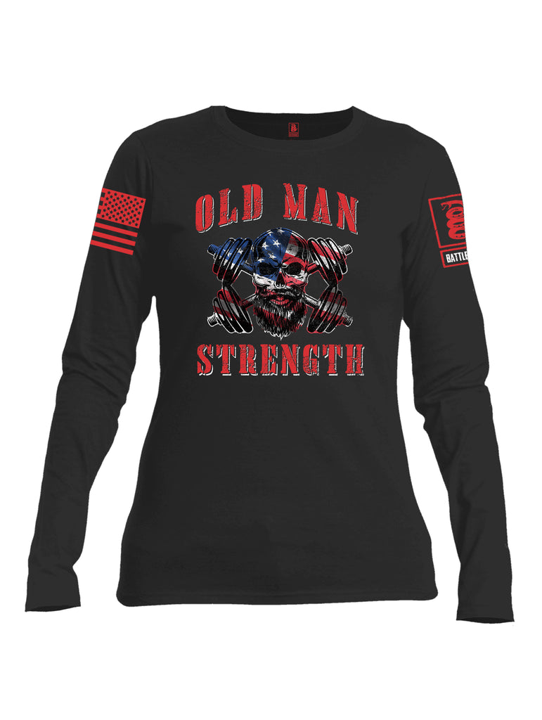 Battleraddle Old Man Strength Red Sleeve Print Womens Cotton Long Sleeve Crew Neck T Shirt