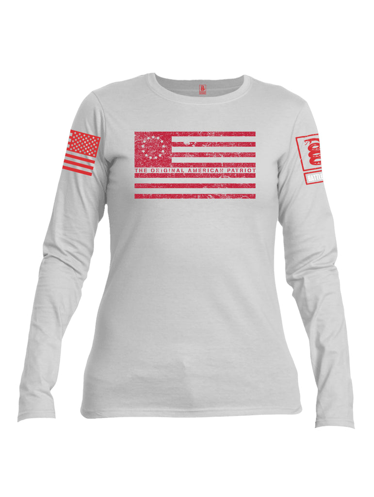 Battleraddle The Original American Patriot Flag Red Sleeve Print Womens Cotton Long Sleeve Crew Neck T Shirt