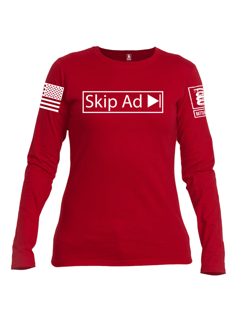 Battleraddle Skip Ad White Sleeve Print Womens Cotton Long Sleeve Crew Neck T Shirt