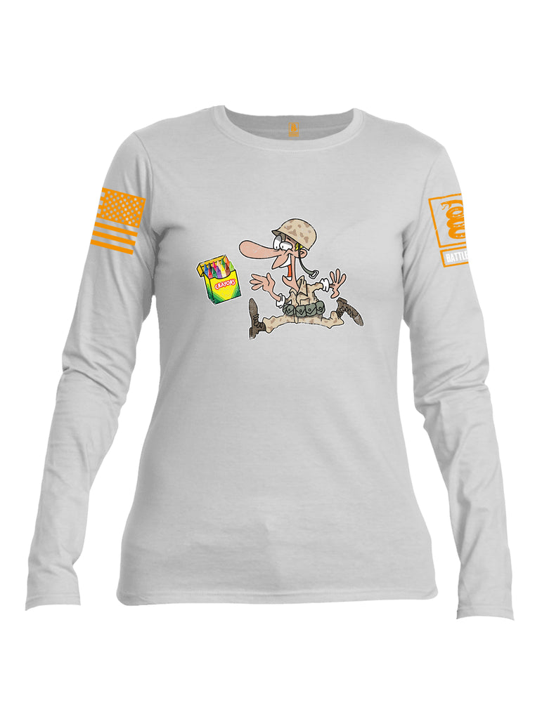 Battleraddle Soldier Crayons Orange Sleeve Print Womens Cotton Long Sleeve Crew Neck T Shirt