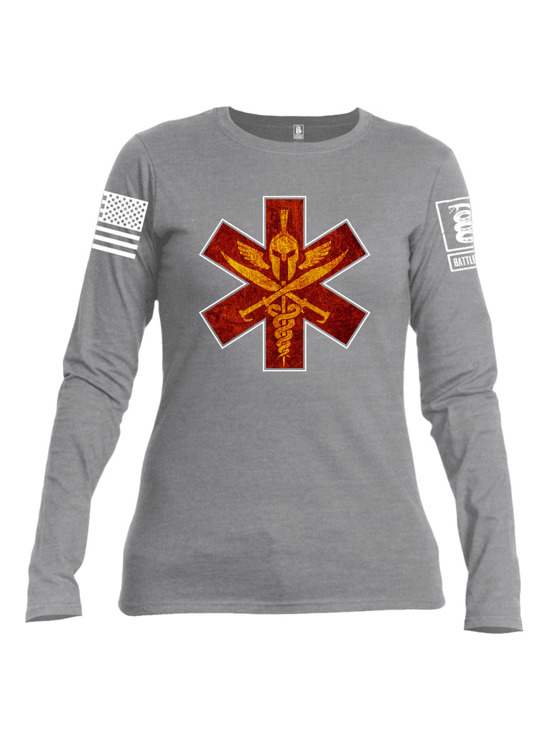 Battleraddle Spartan Cross White Sleeve Print Womens Cotton Long Sleeve Crew Neck T Shirt