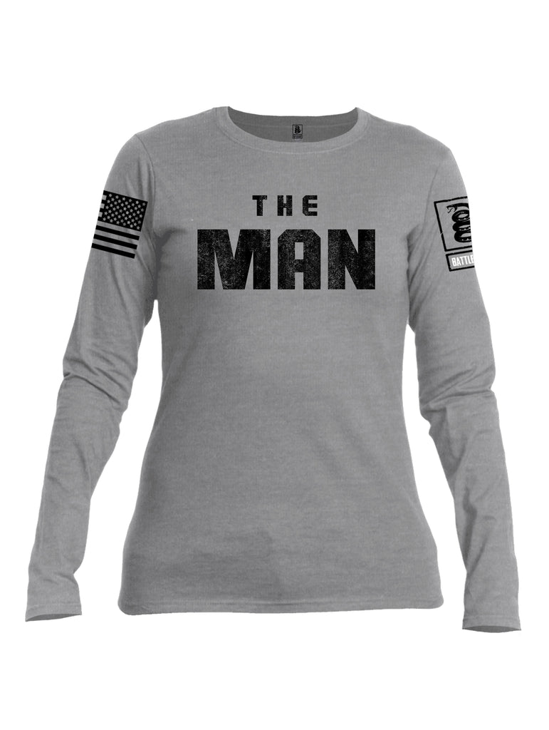 Battleraddle The Man Black Sleeve Print Womens Cotton Long Sleeve Crew Neck T Shirt