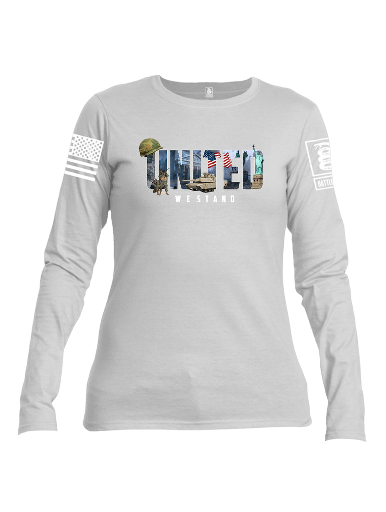 Battleraddle United We Stand White Sleeve Print Womens Cotton Long Sleeve Crew Neck T Shirt