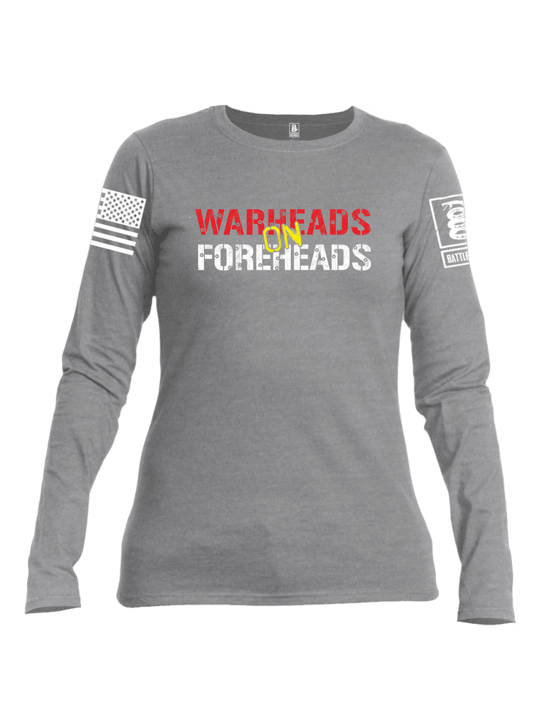 Battleraddle Warheads On Foreheads White Sleeve Print Womens Cotton Long Sleeve Crew Neck T Shirt