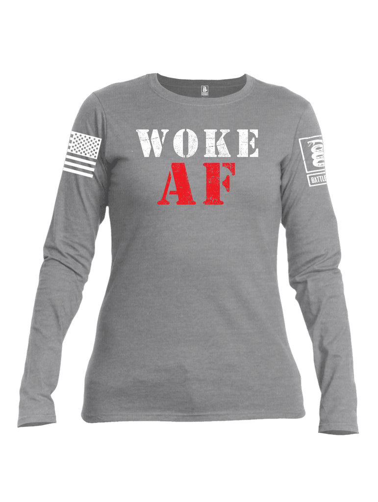 Battleraddle Woke AF White Sleeve Print Womens Cotton Long Sleeve Crew Neck T Shirt
