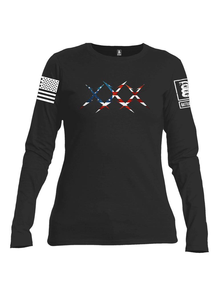 Battleraddle XXX USA Flag White Sleeve Print Womens Cotton Long Sleeve Crew Neck T Shirt
