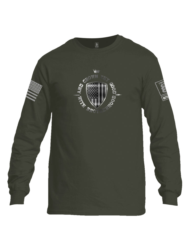 Battleraddle And Crown Thy Good With Brotherhood Grey Sleeve Print Mens Cotton Long Sleeve Crew Neck T Shirt