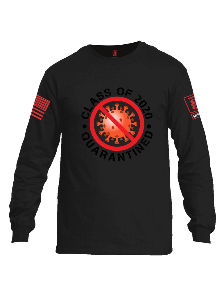 Battleraddle Class Of 2020 Quarantined Red Sleeve Print Mens Cotton Long Sleeve Crew Neck T Shirt