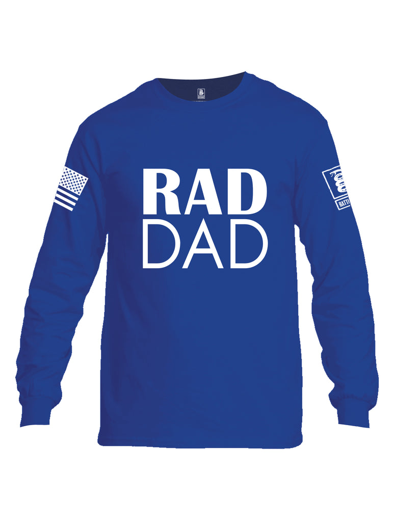 Battleraddle Rad Dad White Sleeve Print Mens Cotton Long Sleeve Crew Neck T Shirt