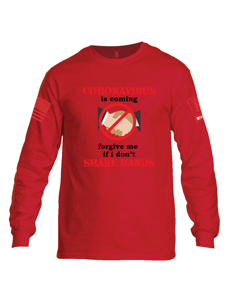 Battleraddle Corona Virus Is Coming Forgive Me If I Dont Shake Hands Red Sleeve Print Mens Cotton Long Sleeve Crew Neck T Shirt