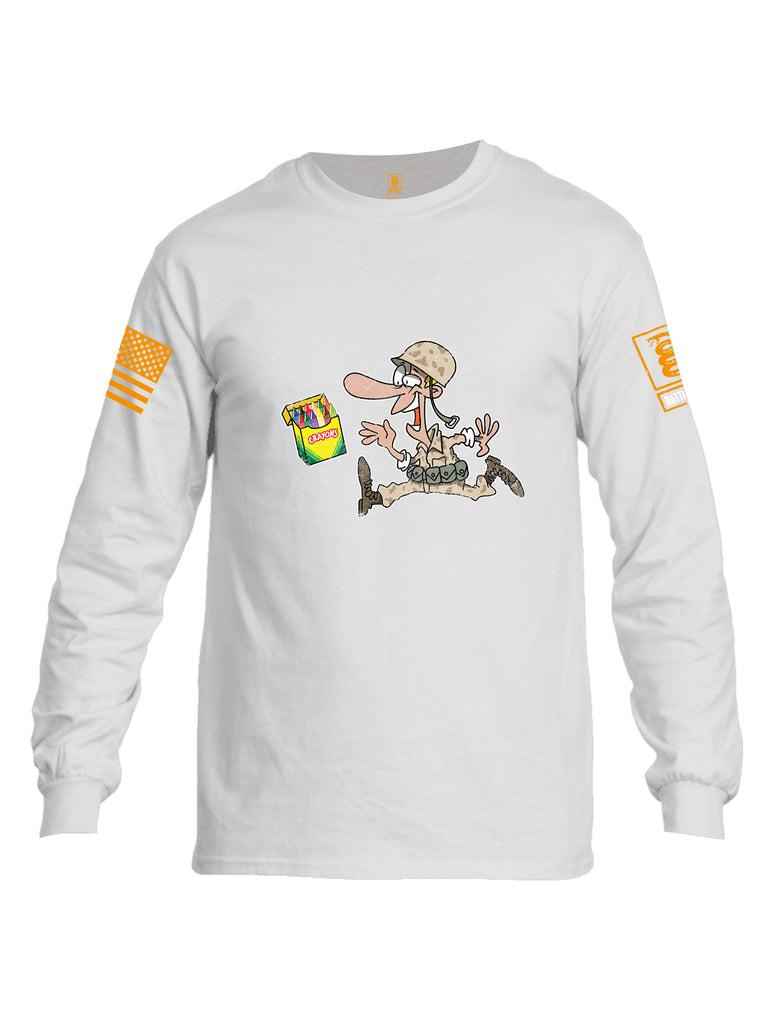 Battleraddle Soldier Crayons Orange Sleeve Print Mens Cotton Long Sleeve Crew Neck T Shirt