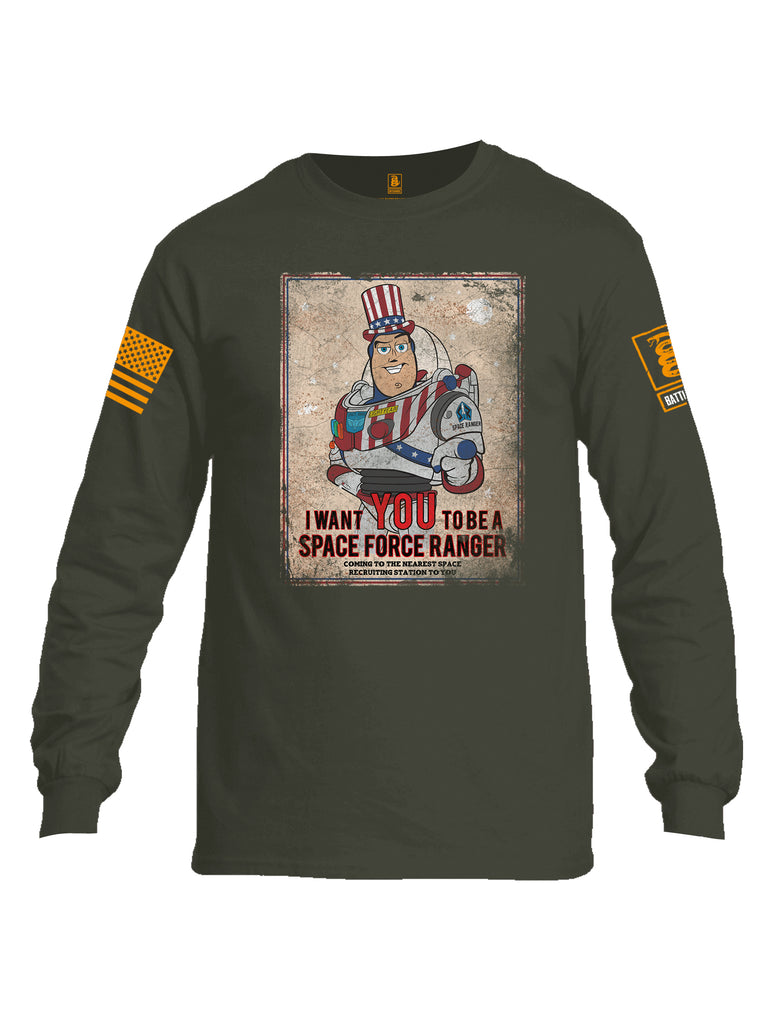 Battleraddle I Want You To Be A Space Force Ranger Orange Sleeve Print Mens Cotton Long Sleeve Crew Neck T Shirt