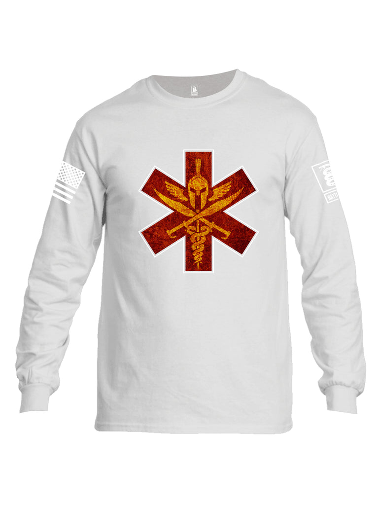 Battleraddle Spartan Cross White Sleeve Print Mens Cotton Long Sleeve Crew Neck T Shirt