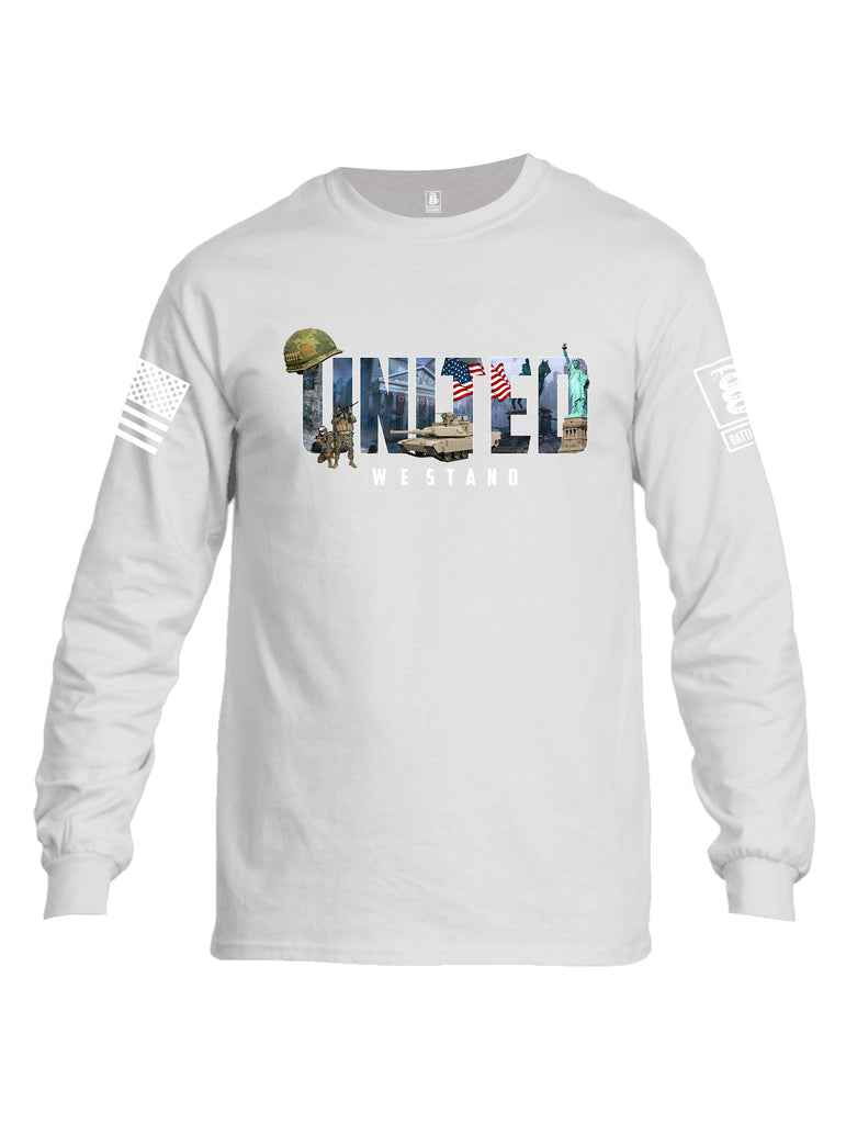 Battleraddle United We Stand White Sleeve Print Mens Cotton Long Sleeve Crew Neck T Shirt