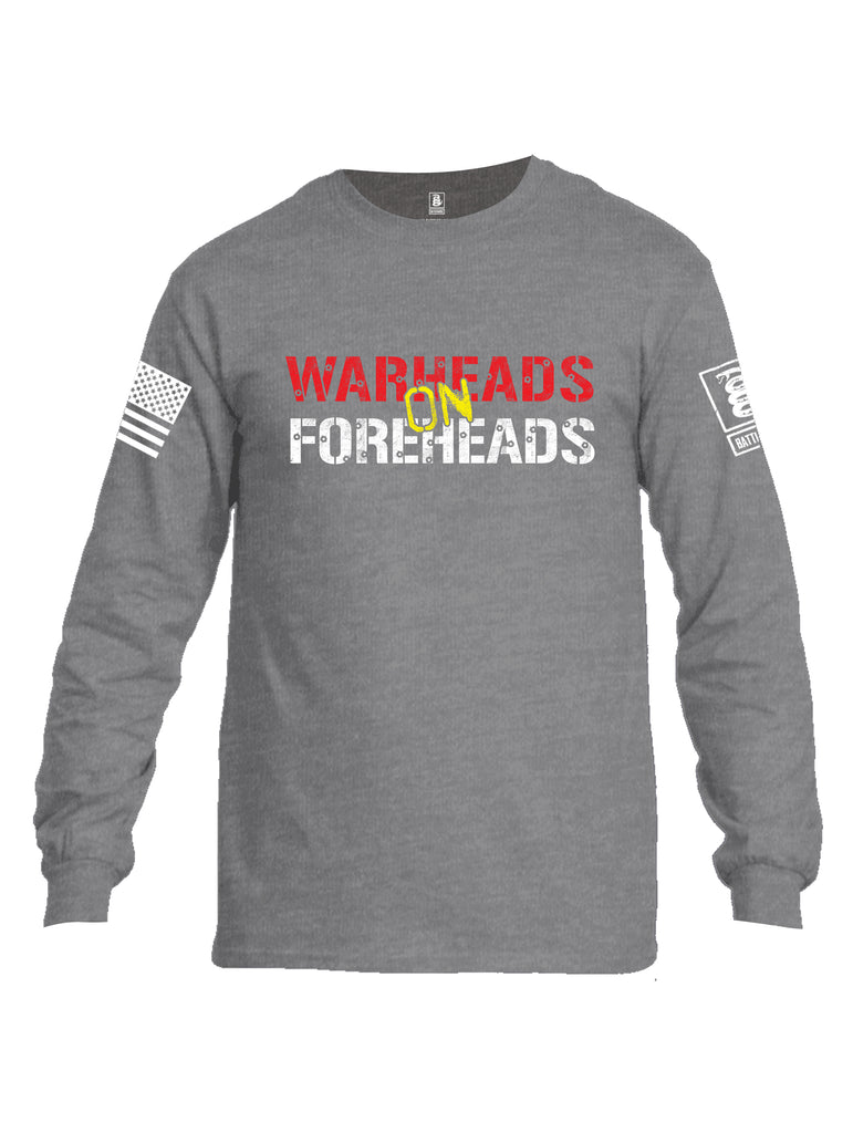 Battleraddle Warheads On Foreheads White Sleeve Print Mens Cotton Long Sleeve Crew Neck T Shirt
