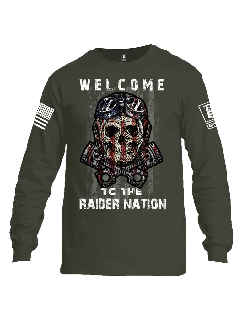 Battleraddle Welcome To The Raider Nation White Sleeve Print Mens Cotton Long Sleeve Crew Neck T Shirt