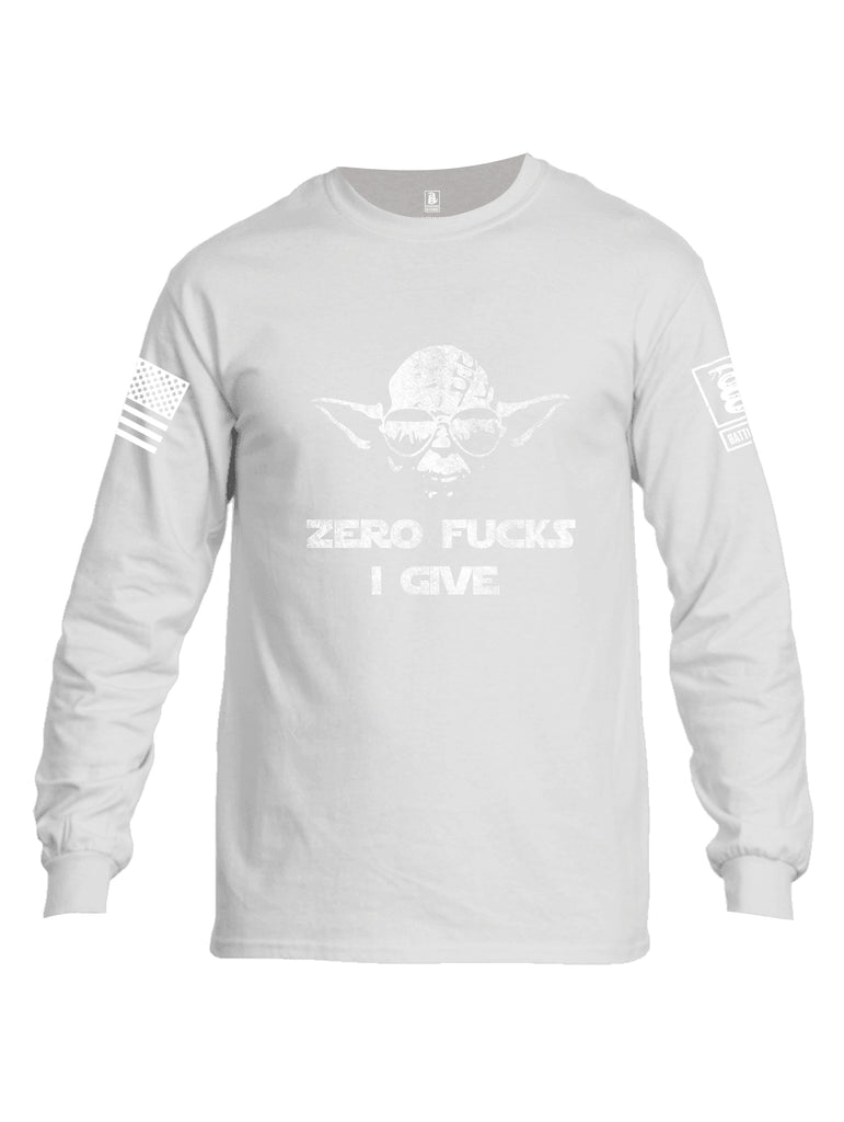 Battleraddle Zero Fucks I Give Yoda White Sleeve Print Mens Cotton Long Sleeve Crew Neck T Shirt