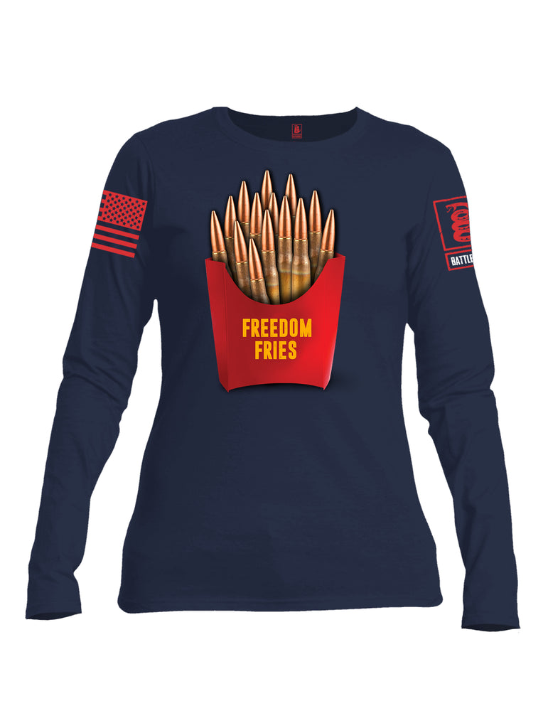 Battleraddle Freedom Fries Women Cotton Crew Neck Long Sleeve T Shirt