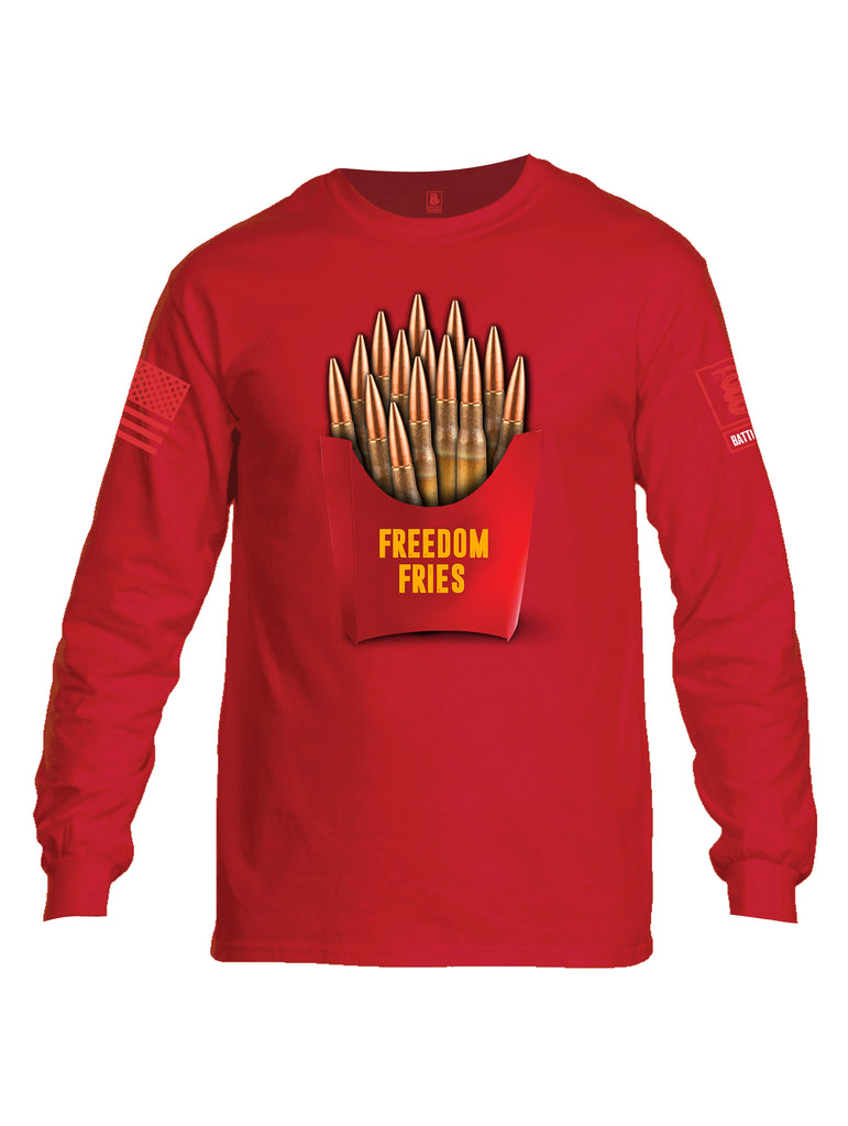 Battleraddle Freedom Fries Men Cotton Crew Neck Long Sleeve T Shirt