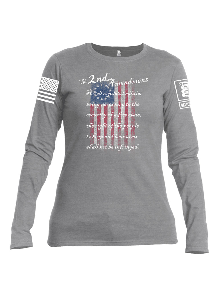 Battleraddle The 2nd Amendment 13 Colonies White Sleeve Print Womens Cotton Long Sleeve Crew Neck T Shirt