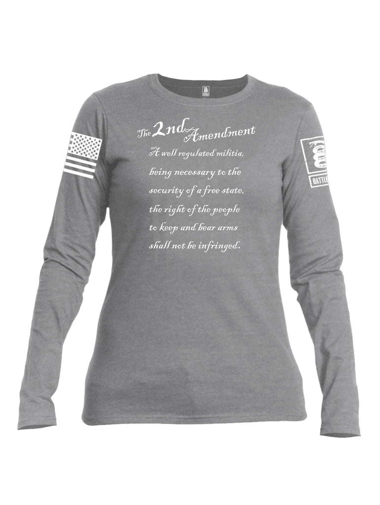 Battleraddle The 2nd Amendment Bullet Gun Flag White Sleeve Print Womens Cotton Long Sleeve Crew Neck T Shirt