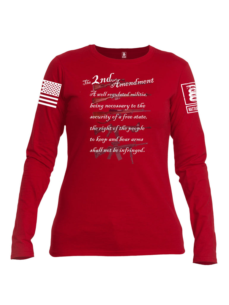 Battleraddle The 2nd Amendment Gun Evolution White Sleeve Print Womens Cotton Long Sleeve Crew Neck T Shirt
