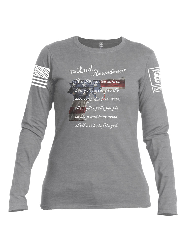 Battleraddle The 2nd Amendment M9 White Sleeve Print Womens Cotton Long Sleeve Crew Neck T Shirt