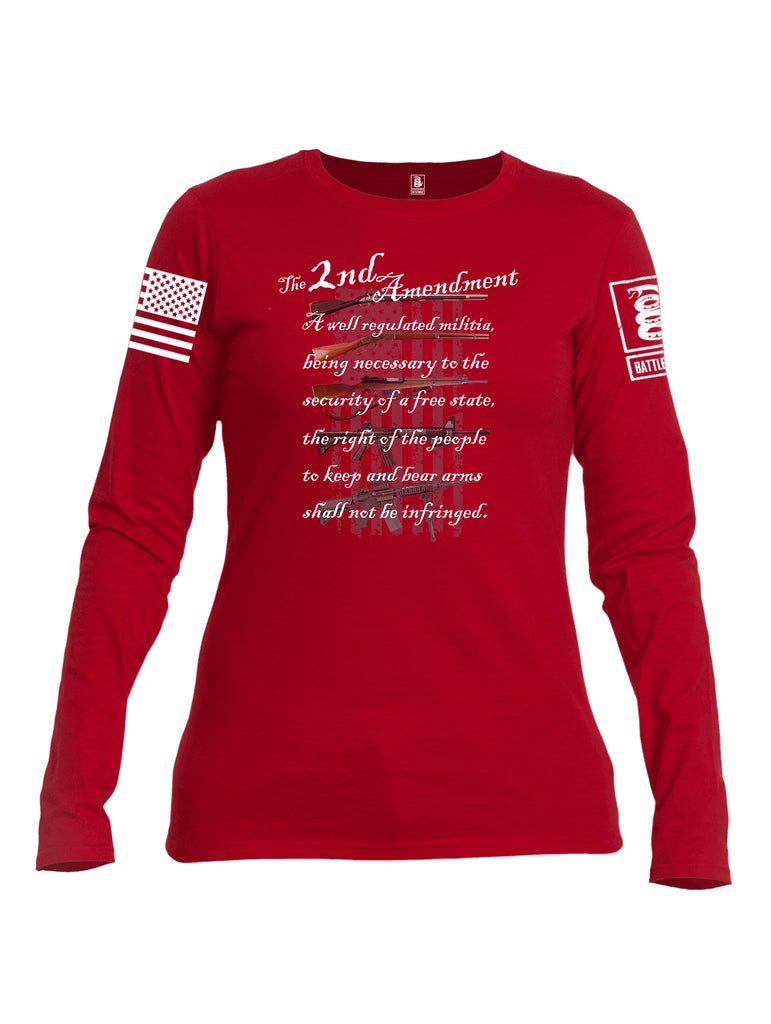 Battleraddle The 2nd Amendment Gun Evolution Flag White Sleeve Print Womens Cotton Long Sleeve Crew Neck T Shirt
