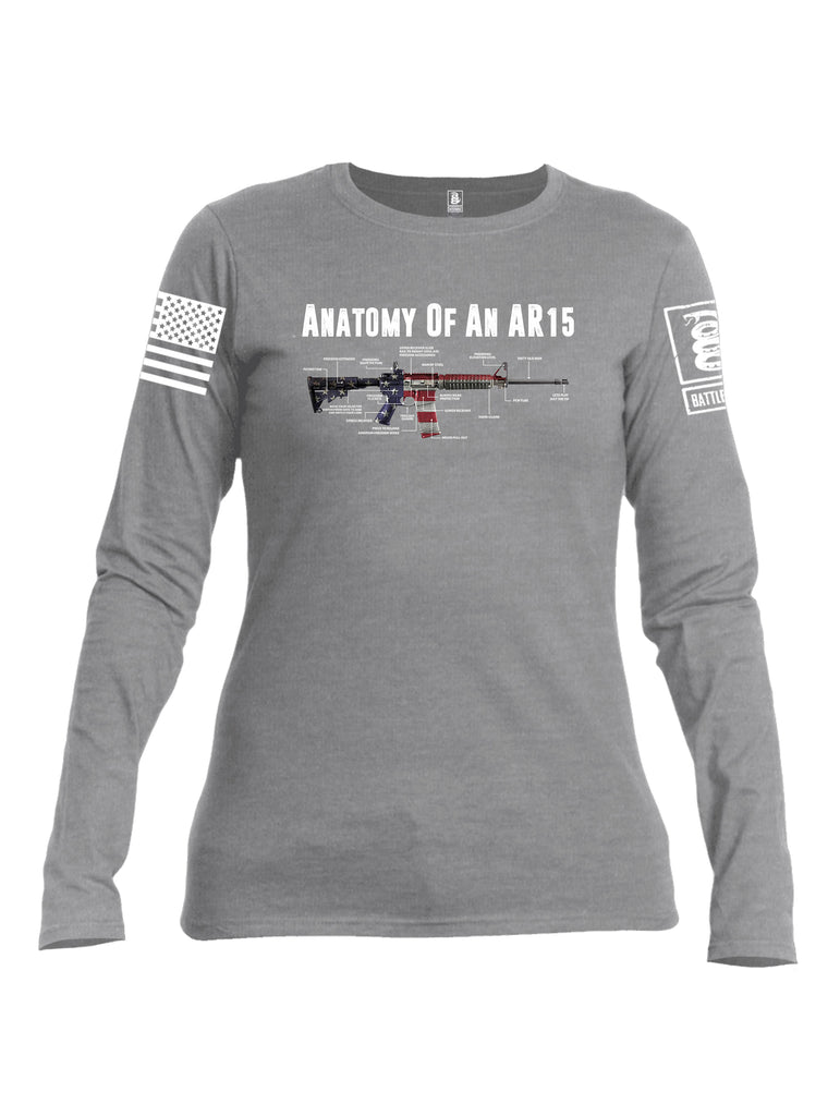 Battleraddle Anatomy Of An AR15 White Sleeve Print Womens Cotton Long Sleeve Crew Neck T Shirt