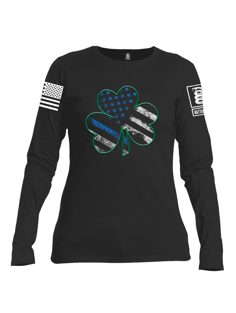 Battleraddle Blue Line Clover White Sleeve Print Womens Cotton Long Sleeve Crew Neck T Shirt