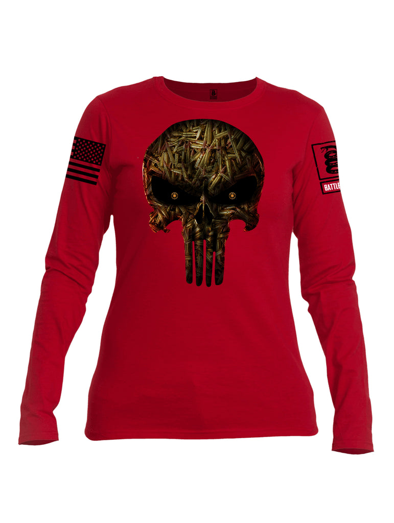 Battleraddle Expounder Bullet Rounds Black Sleeve Print Womens Cotton Long Sleeve Crew Neck T Shirt