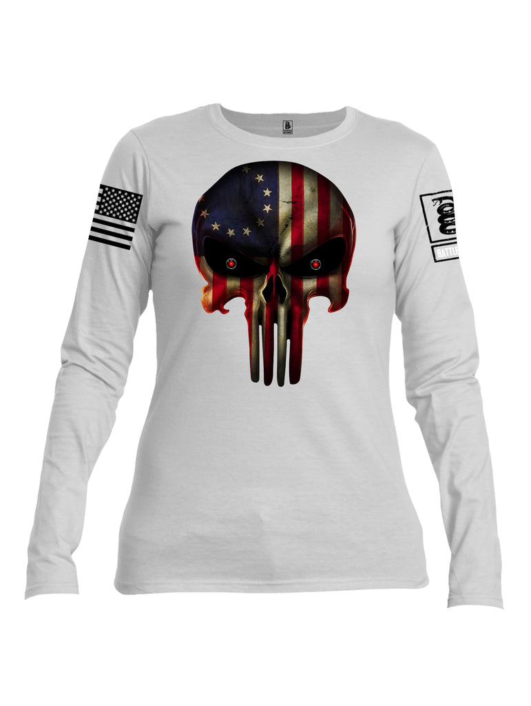 Battleraddle Expounder Colony Flag Black Sleeve Print Womens Cotton Long Sleeve Crew Neck T Shirt