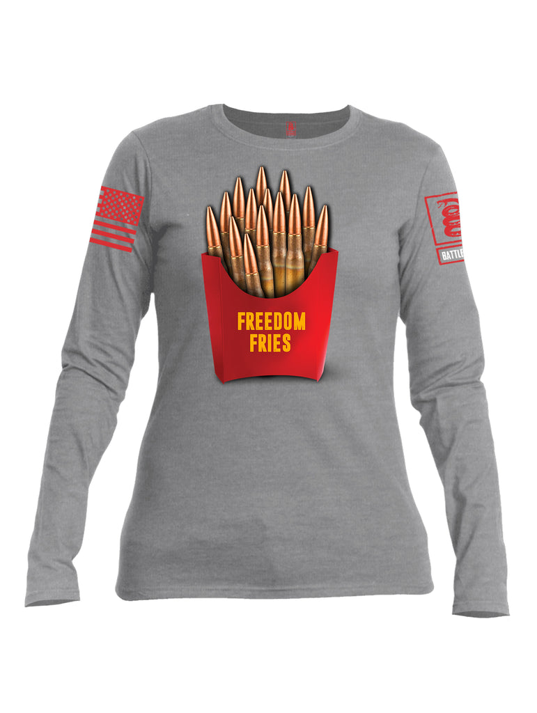 Battleraddle Freedom Fries Red Sleeve Print Womens Cotton Long Sleeve Crew Neck T Shirt