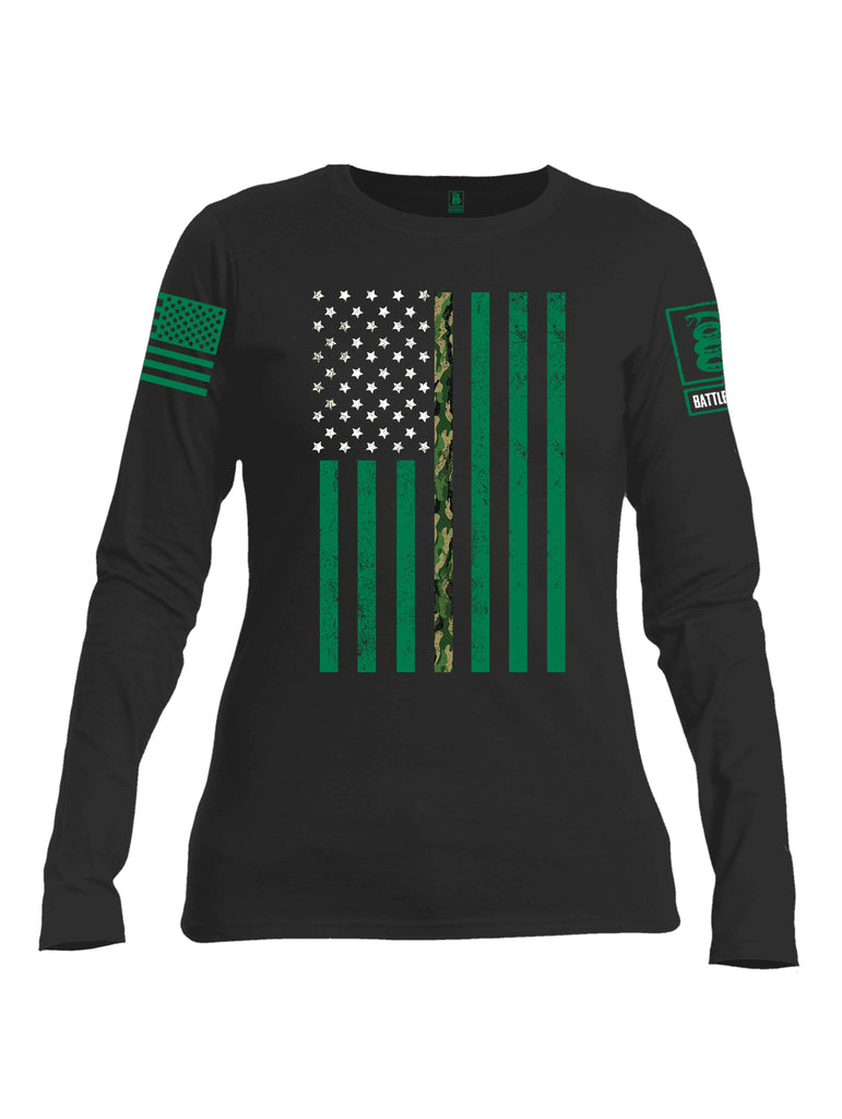 Battleraddle Patricks Camo Flag Green Sleeve Print Womens Cotton Long Sleeve Crew Neck T Shirt