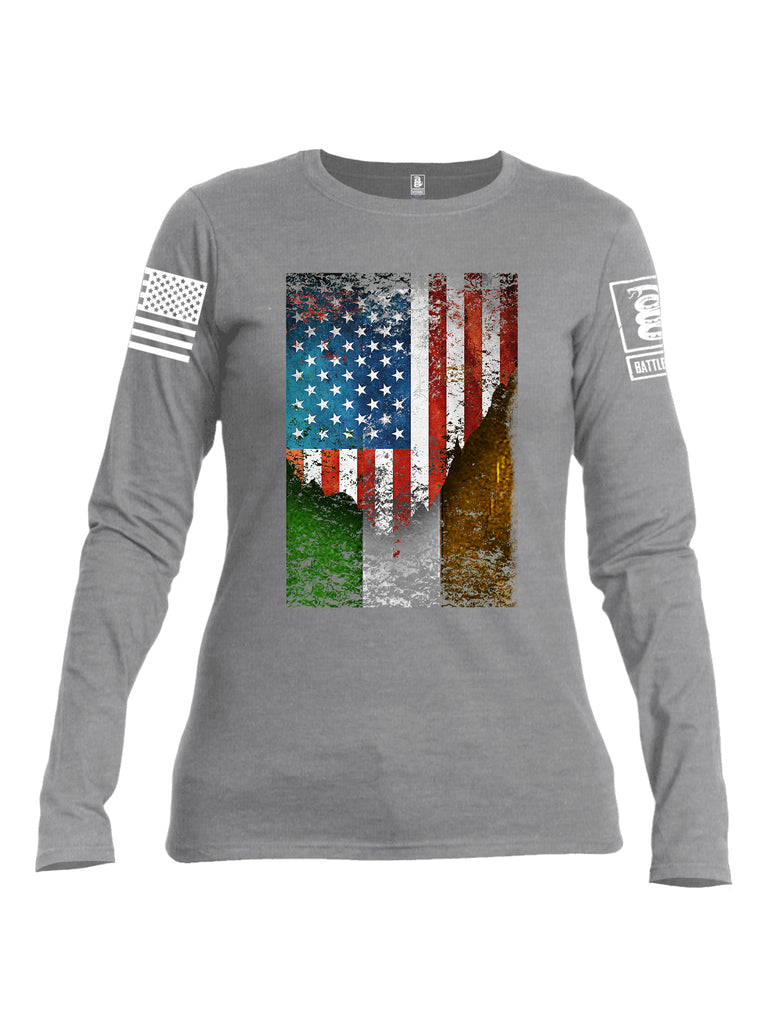 Battleraddle American Irish Flag White Sleeve Print Womens Cotton Long Sleeve Crew Neck T Shirt