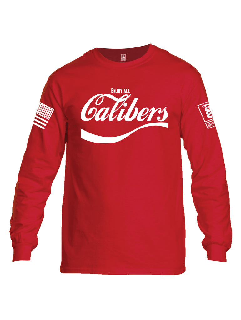 Battleraddle Enjoy Calibers White Sleeve Print Mens Cotton Long Sleeve Crew Neck T Shirt