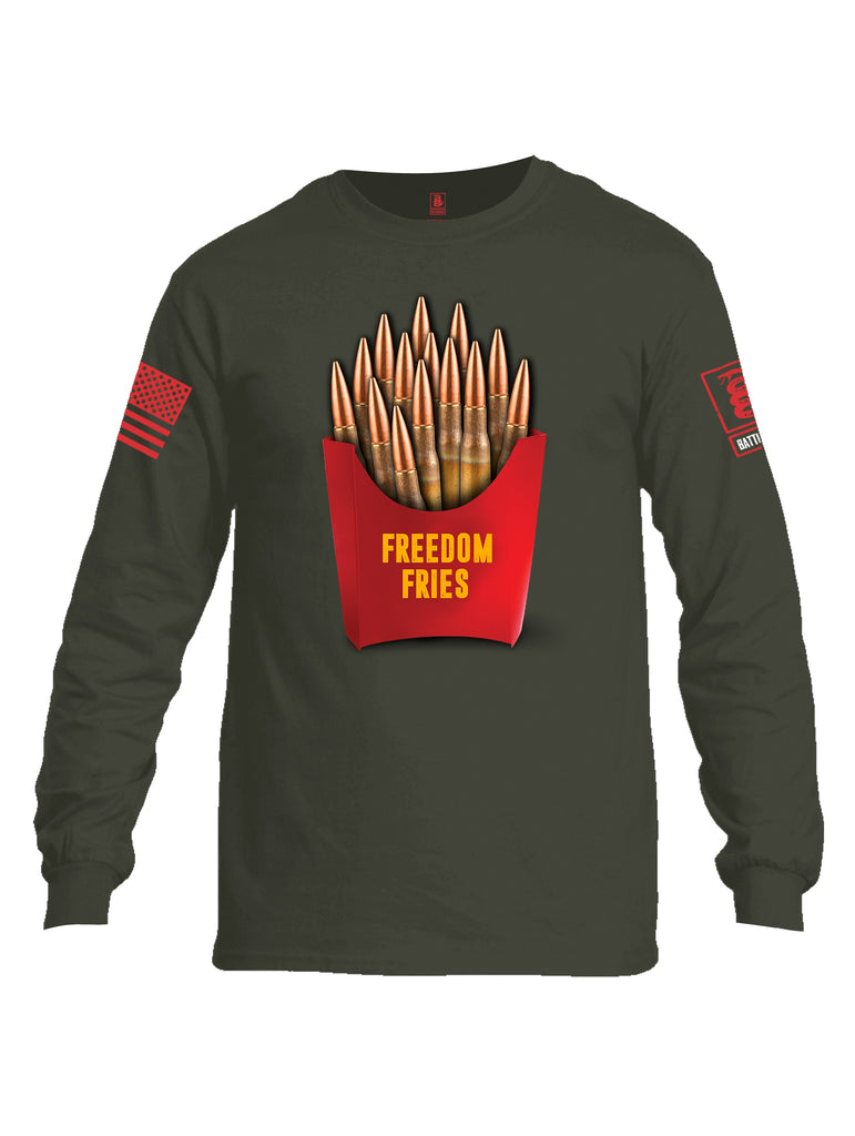 Battleraddle Freedom Fries Red Sleeve Print Mens Cotton Long Sleeve Crew Neck T Shirt