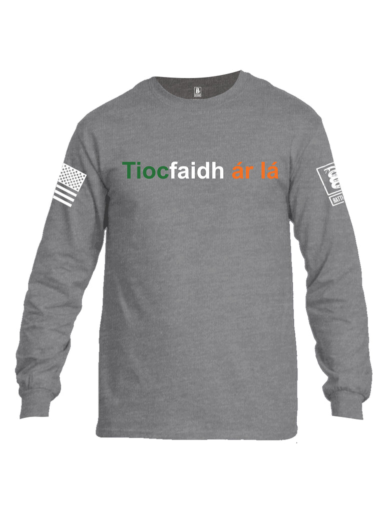 Battleraddle Tiocfaidh ar la with Irish Flag Green White Orange Letters White Sleeve Print Mens Cotton Long Sleeve Crew Neck T Shirt
