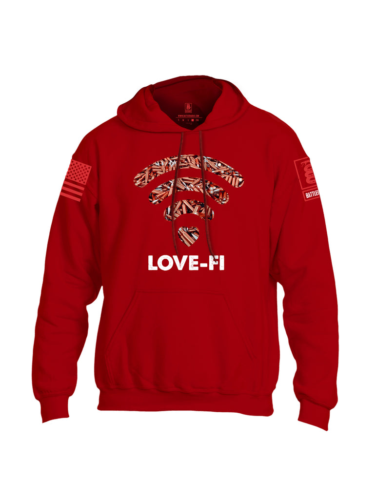 Battleraddle Love-Fi Red Sleeve Print Mens Blended Hoodie With Pockets