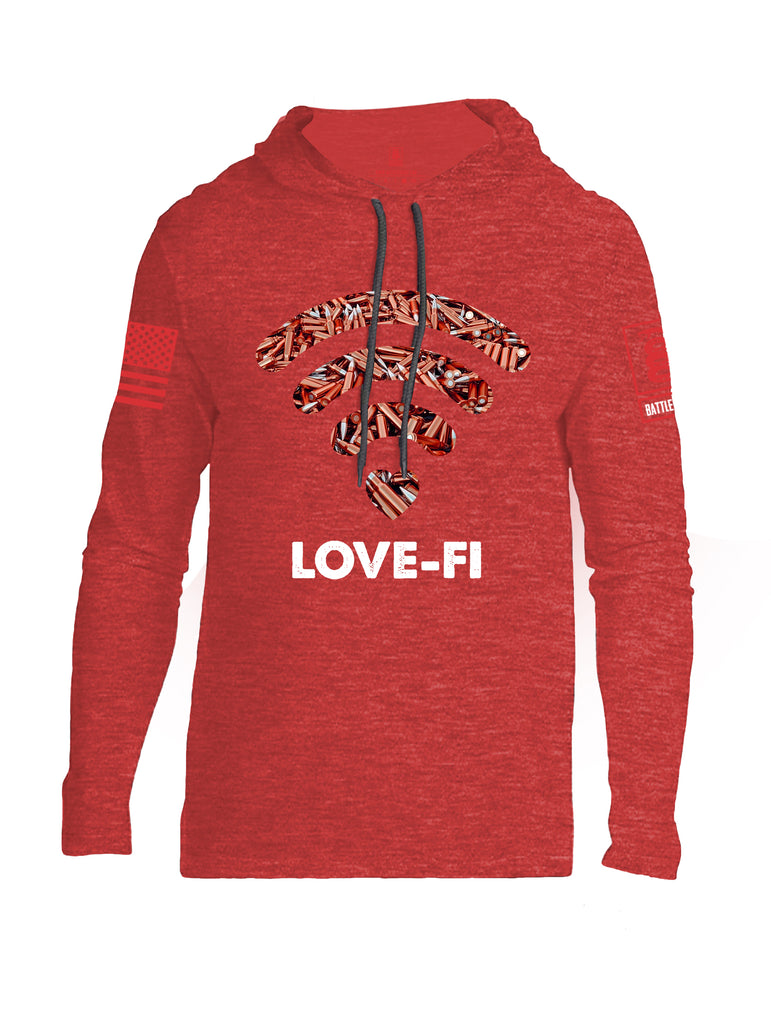Battleraddle Love-Fi Red Sleeve Print Mens Thin Cotton Lightweight Hoodie
