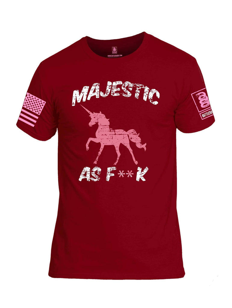 Battleraddle Majestic As F**k Pink Sleeve Print Mens Cotton Crew Neck T Shirt shirt|custom|veterans|Apparel-Mens T Shirt-cotton