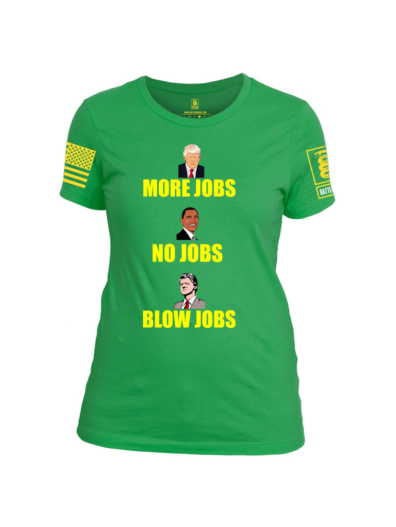 Battleraddle More Jobs No Jobs Blow Jobs Yellow Sleeve Print Womens Cotton Crew Neck T Shirt