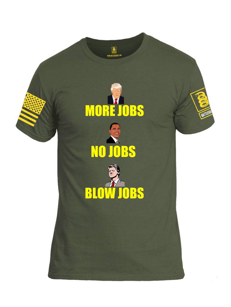 Battleraddle More Jobs No Jobs Blow Jobs Yellow Sleeve Print Mens Cotton Crew Neck T Shirt