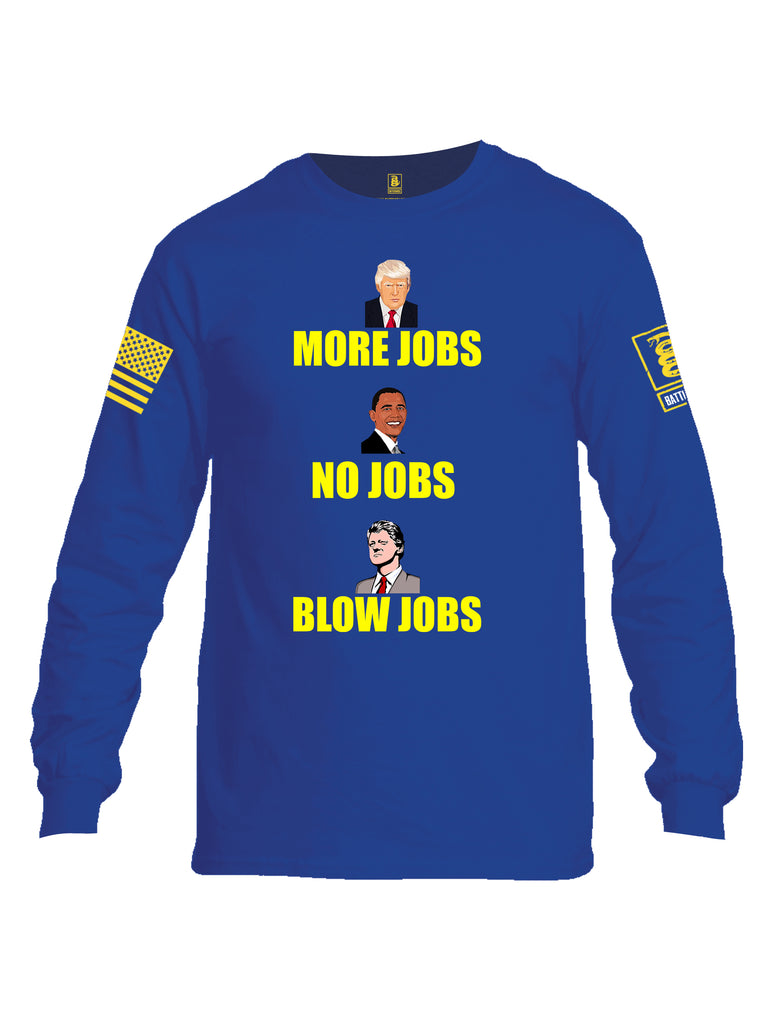 Battleraddle More Jobs No Jobs Blow Jobs Yellow Sleeve Print Mens Cotton Long Sleeve Crew Neck T Shirt