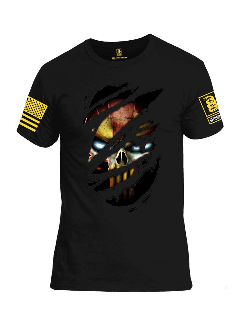 Battleraddle Panting Bullet Expounder Skull Ripped Yellow Sleeve Print Mens 100% Battlefit Polyester Crew Neck T Shirt shirt|custom|veterans|Apparel-Mens Shirts-DryFit