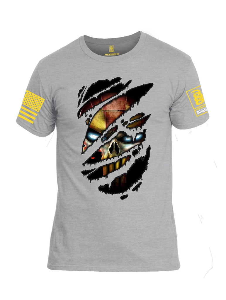 Battleraddle Panting Bullet Expounder Skull Ripped Yellow Sleeve Print Mens Cotton Crew Neck T Shirt shirt|custom|veterans|Apparel-Mens T Shirt-cotton