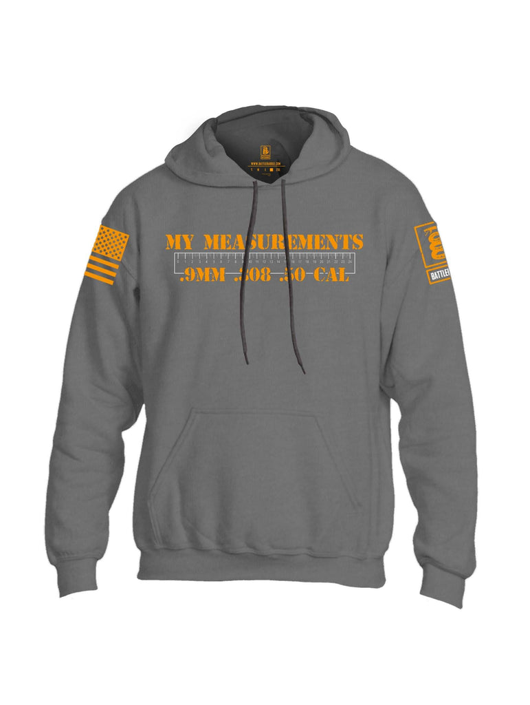 Battleraddle My Measurements .9mm .308 .50 Cal Orange Sleeve Print Mens Blended Hoodie With Pockets shirt|custom|veterans|Apparel-Mens Hoodies-Cotton/Dryfit Blend