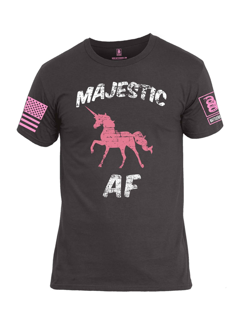 Battleraddle Majestic AF Pink Sleeve Print Mens Cotton Crew Neck T Shirt shirt|custom|veterans|Apparel-Mens T Shirt-cotton