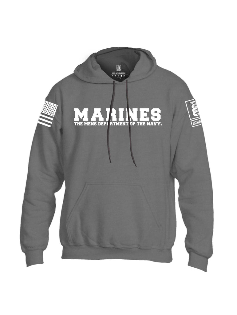Battleraddle Marines The Mens Department Of The Navy White Sleeve Print Mens Blended Hoodie With Pockets