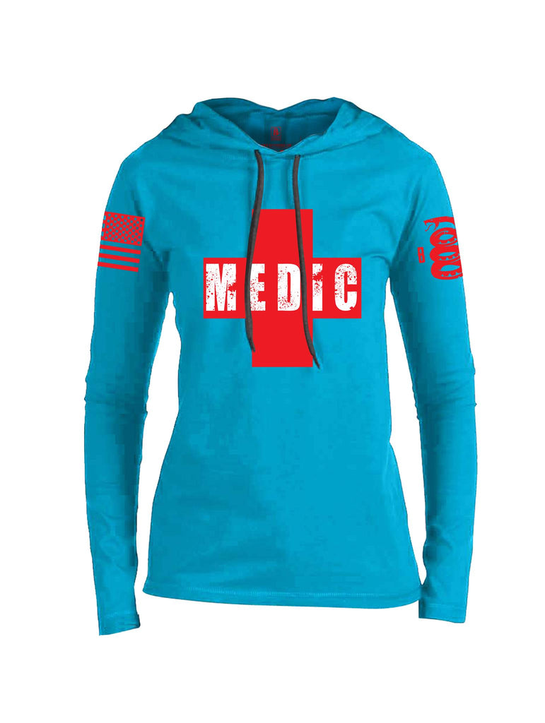 Battleraddle Medic Red Sleeve Print Womens Thin  Cotton Lightweight Hoodie